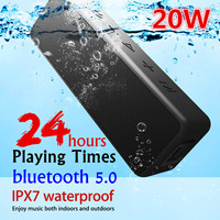 20W Portable bluetooth5.0 Wireless Speaker Better Bass 24 Hour bluetooth Range IPX7 Water Resistance Soundbar Subwoofer