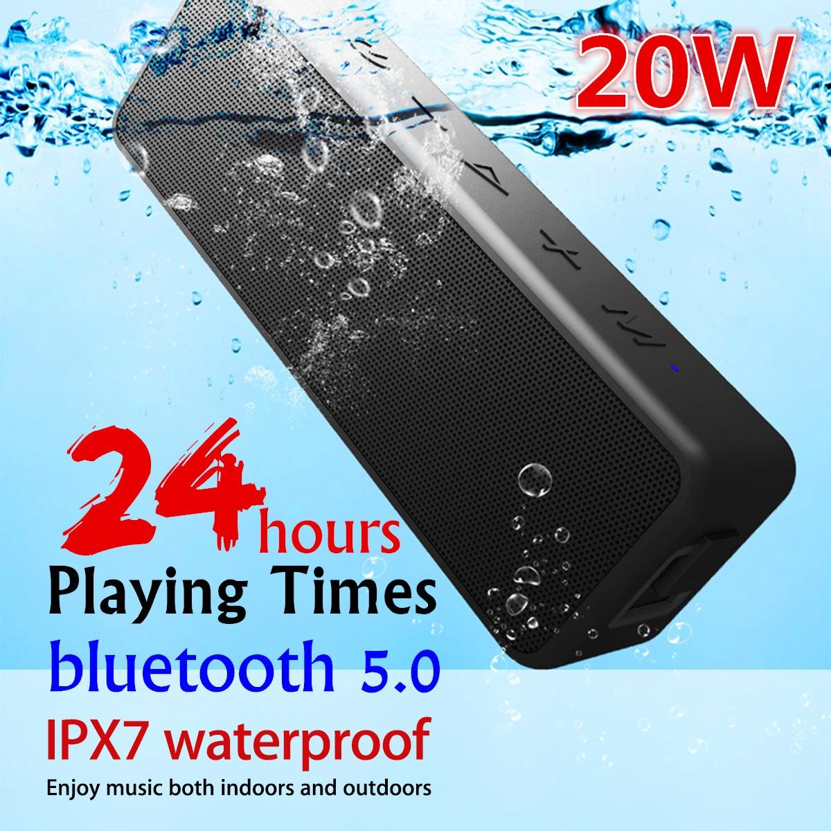 20W Portable bluetooth5.0 Wireless Speaker Better Bass 24 Hour bluetooth Range IPX7 Water Resistance Soundbar Subwoofer