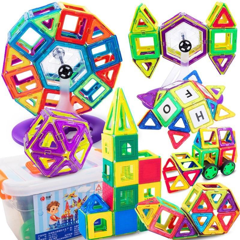 new Big Magnetic Toy Magnets Kids Buiding Blocks Educational Girl Boy Construction Designer Set Castle Plane Car Creative toys