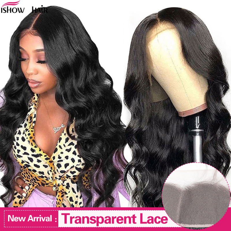 Ishow Hair Wigs Body Wave Brazilian Transparent Lace Front Human Hair Wigs Pre-plucked With Baby Hair 150% Density Lace Wigs