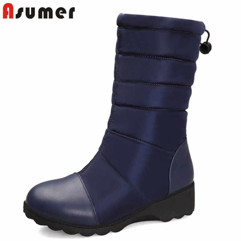 ASUMER 2020 sıcak satış kış kar botları kadın pu aşağı yuvarlak ayak su geçirmez kaymaz takozlar ayakkabı rahat sıcak yarım çizmeler kadın