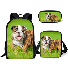HaoYun Fashion Primary Backpack Funny Bulldogs Pattern School Bags Cute Animal Design 3PC/Set Students Back to