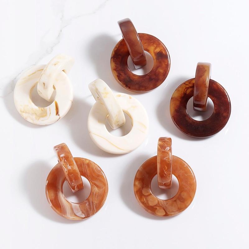 Acrylic Brown Elegant Wood Grain Earrings For Woman Geometric Round Drop Earring Bohemian Jewelry Accessories Pendientes Navidad