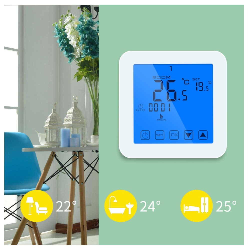 Programmable Thermostat Touch Screen Digital Thermostat For Gas Boiler Heating Wall Mounted Temperature Controller Regulater