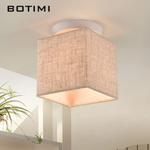 BOTIMI Janpaness Fabric Ceiling Lamp With Square Lampshade Lamparas de techo Cloth Surface Mounted Corridor Lighting Fixtures(China)