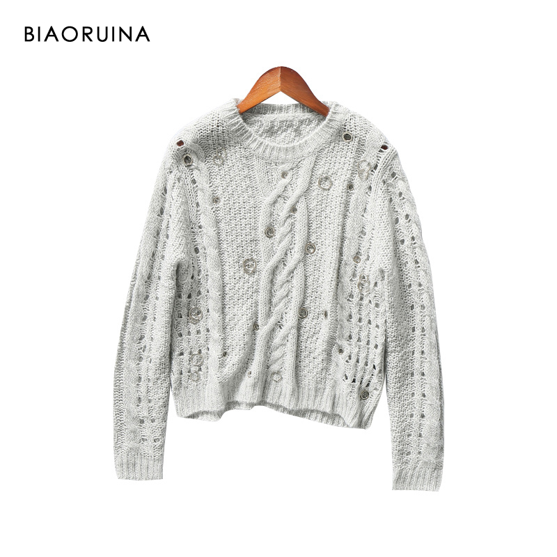 BIAORUINA Women's Light Grey Hallow Out Circle Buckles Fashion Sweater Female Casual Winding Knit Pullover O-neck Long Sleeve