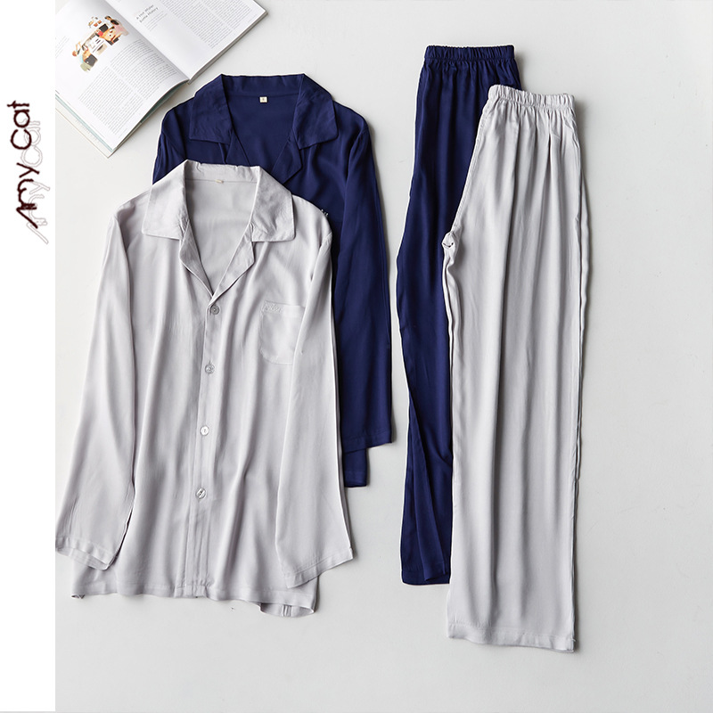 2020 Leisure Simple Mens Cardigan Pajama Set Solid Color Satin Crown Embroidery Men Sleepwear Long Sleeve Lapels Home Clothing