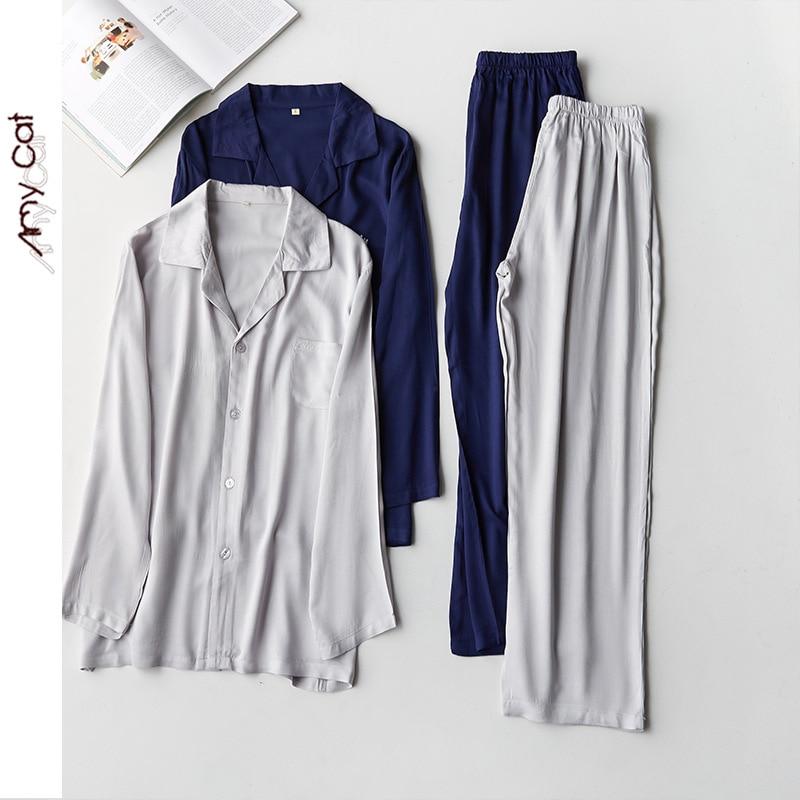 2020 Leisure Simple Mens Cardigan Pajama Set Solid Color Satin Crown Embroidery Men Sleepwear Long Sleeve Lapels Home Clothing