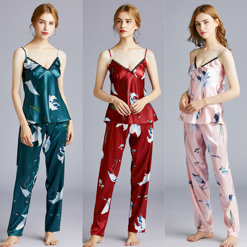 Hot Selling Version Of Silk Pajamas Women's Summer Camisole Trousers Two-Piece Set Tracksuit Thin Dt1369