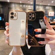 Đeo Tay Thời Trang Mạ Điện Ốp Lưng Điện Thoại iPhone 12 MINI 11 Pro Max XR XS X 7 8 Plus SE 2020 Chống Sốc Ốp Viền Bumper