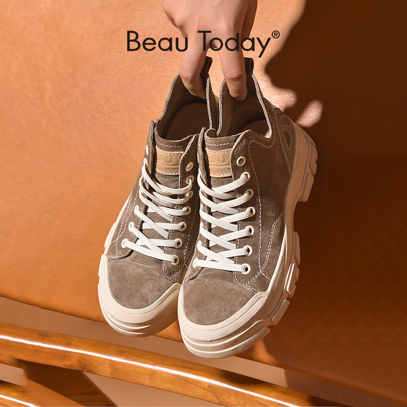 BeauToday Casual Sneakers Women Suede Leather Round Toe Lace Free High Top Ladies Retro fashion Flat Shoes Handmade 29575
