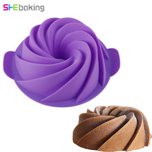 Shebaking 3D Large Swirl Silicone Cake Mould Spiral Fondant Bread Chocolate Baking Mold DIY Kitchen Form Bakeware Molds