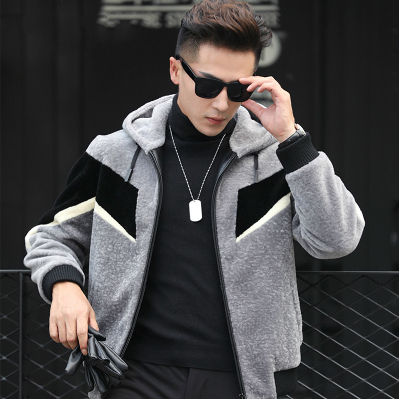 Real Fur Coat Men Sheep Shearling Autumn Winter Wool Coat Men's Jackets Short Hooded Leather Jacket Man Clothes KJ823
