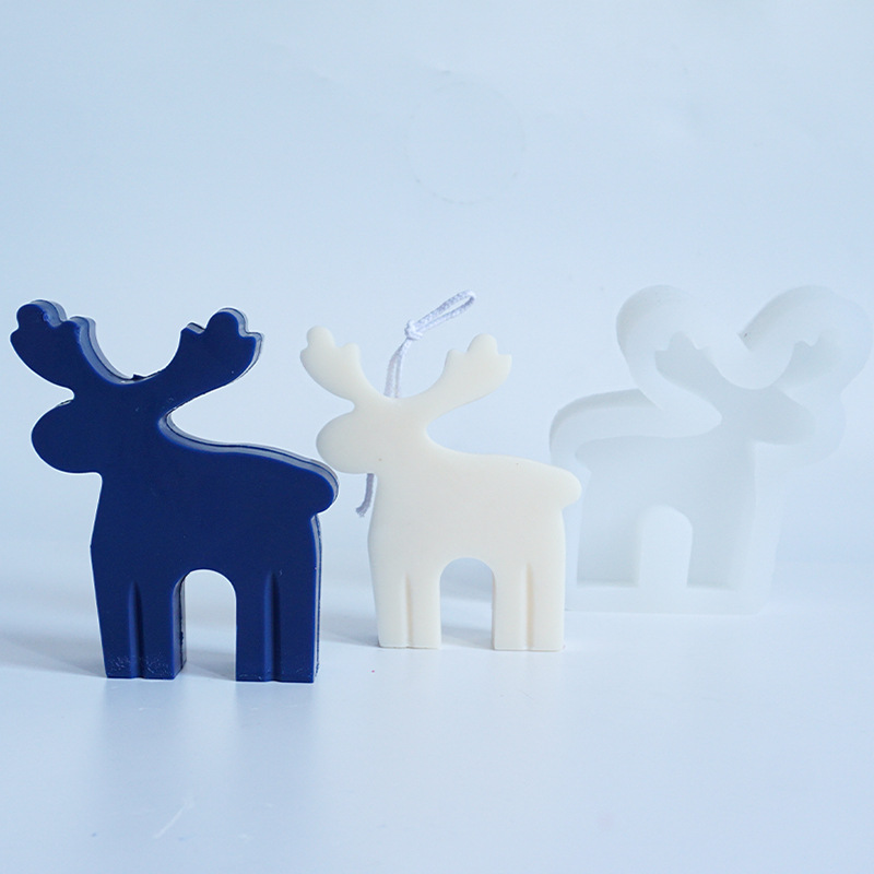 Christmas style Elk Candle moulds Aromatherapy Wax Silicone Molds Deer Animal Plaster Gypsum Mold For Wax Candle Mould