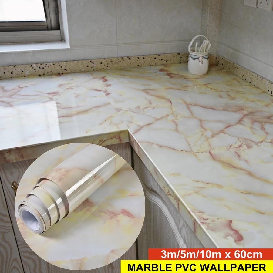 3D Marble Vinyl Film Self Adhesive Waterproof Wallpaper for Bathroom Kitchen Cupboard Countertops Contact Paper PVC Wall Sticker