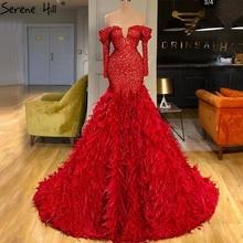 Red Mermaid długie rękawy dubaj suknie wieczorowe 2020 Off Shoulder Sparkle Feathers formalna sukienka Serene Hill HM67127 tanie tanio Kochanie Sąd pociąg Długość podłogi Poliester Trąbka mermaid Formalna wieczór Pióra Cekinami Off the Shoulder Pełna