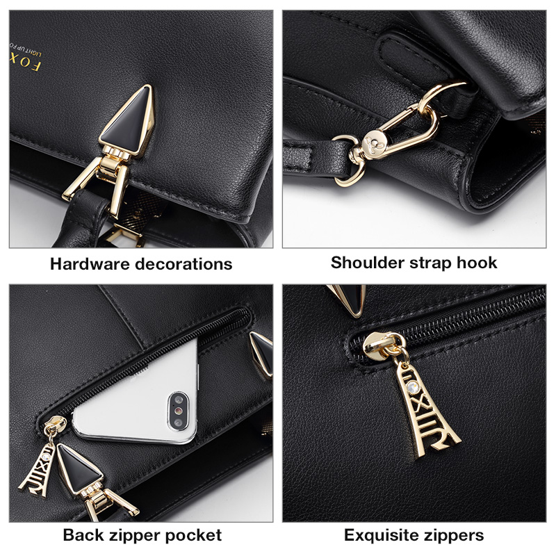 FOXER Comy Women Handbag Chic Lady Purse Black