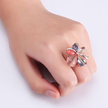 NJ 2019 New Gorgeous Crystal Flower Rose Gold Lady Woman Ring Chic Rings For Party Wedding Girls Jewelry Gift