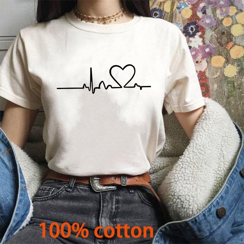 2019 Tshirts Cotton Women Harajuku Casual White Tops Love Printed Women T-Shirts Short Sleeve O-neck T Shirt For Women Clothing