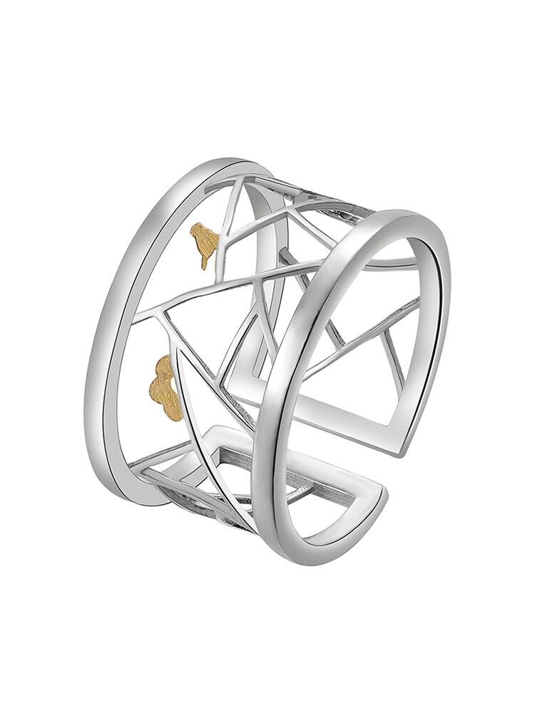 Open-Ring Window-Decoration Oriental-Element Fine-Jewelry 925-Sterling-Silver Lotus Fun