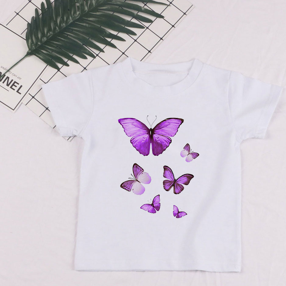 New 24M-9T Baby Girl Summer Clothes Girls Tops Beautiful Butterfly Aesthetics Play Printing T Shirt Boy Vogue Tshirt Kids O-neck