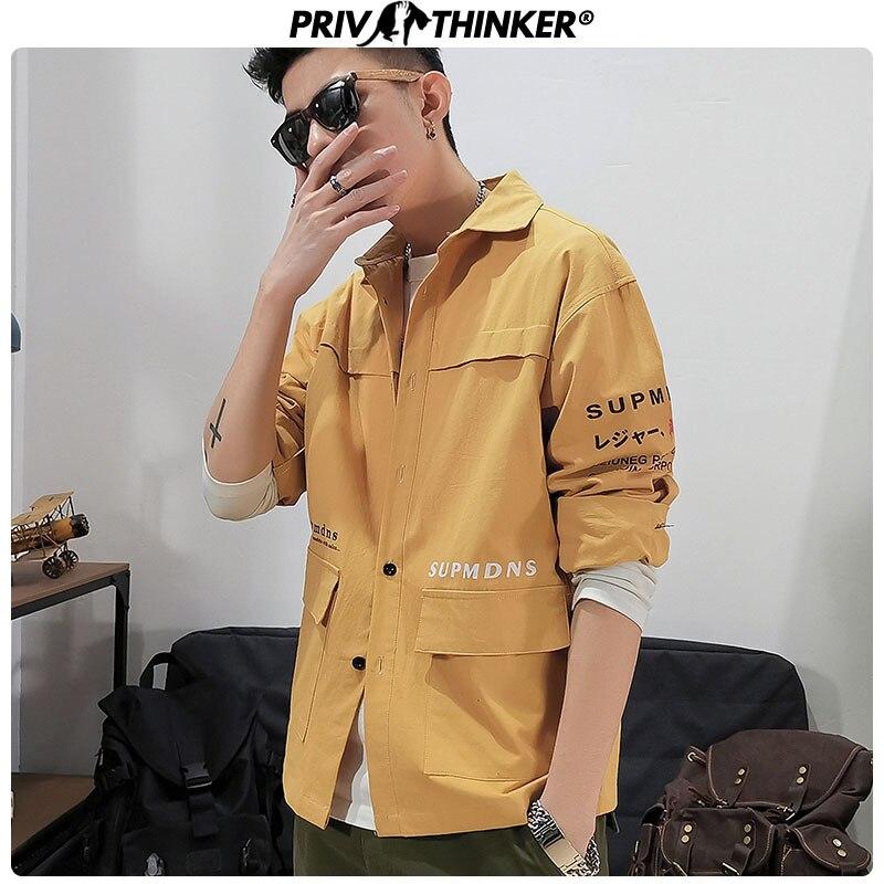 Privathinker 2020 Spring Mens Streetwear Shirts Male Korean Clothes Shirts Men Vintage Shirts Streetwear