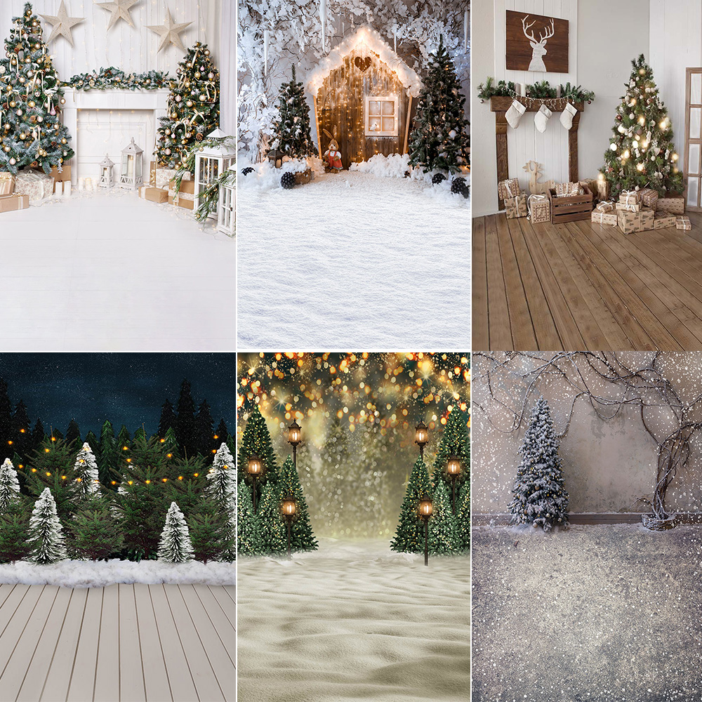 Christmas Photography Backdrop Photocall Winter Snow Fireplace Christmas Trees Photo Background Gifts Family Party Video Props