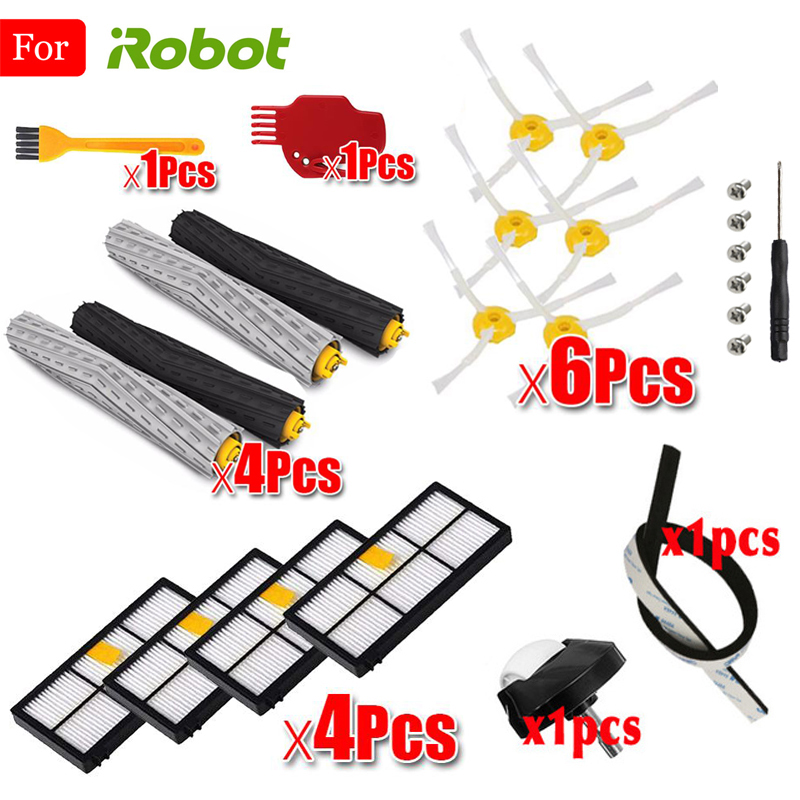 For IRobot Roomba 800 805 860 861 865 866 870 871 880 885 960 966 980 Series Replacement Parts HEPA Filter Brush Kit Accessories