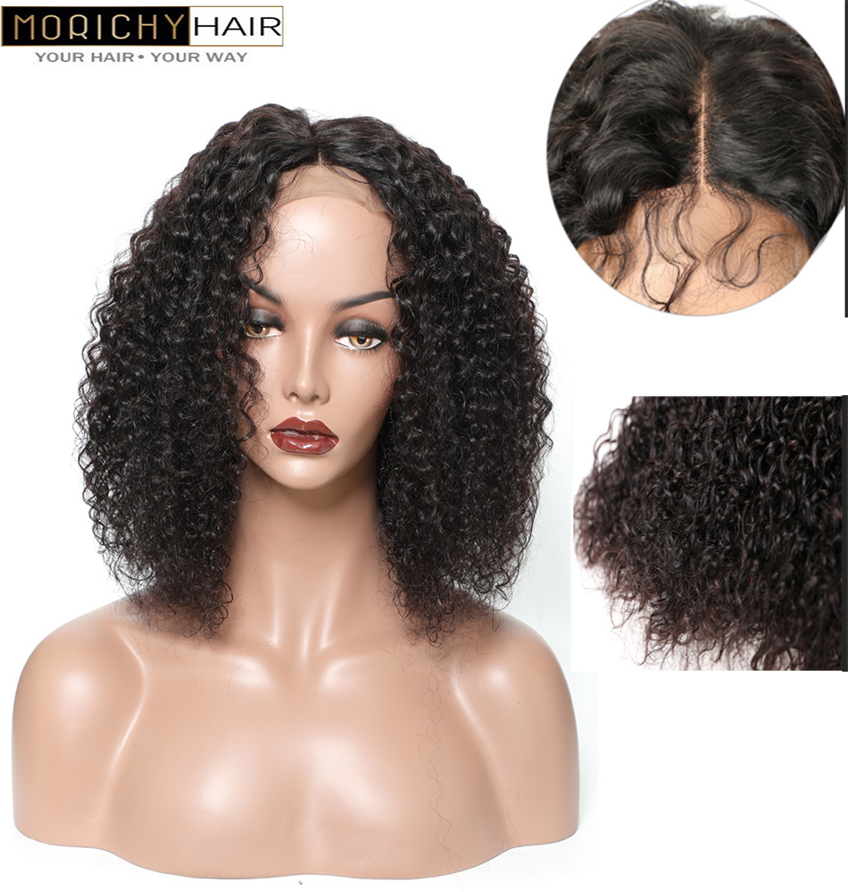 Morichy Brazilian Kinky Curly Human Hair Closure Wigs Short Cut Bob 4x4 Lace Closure Wigs With Preplucked Hair Line For Women