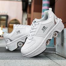 Deformação sapatos quatro rodas rodadas tênis de corrida ao ar livre respirável sapatos de patinação unisex invisível polia sapatos de patinação