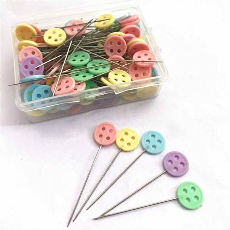 50Pcs/Kotak Tombol Patchwork Pins Jarum Bunga Jahit Pins DIY Kerajinan dengan 6 Jenis Tersedia DIY Pakaian Jahit Pin