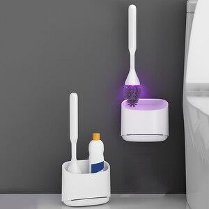 Image 2 - Oneup uv esterilização toalete escova titular cabeça de borracha escova de limpeza para banheiro doméstico piso limpeza acessórios do banheiro