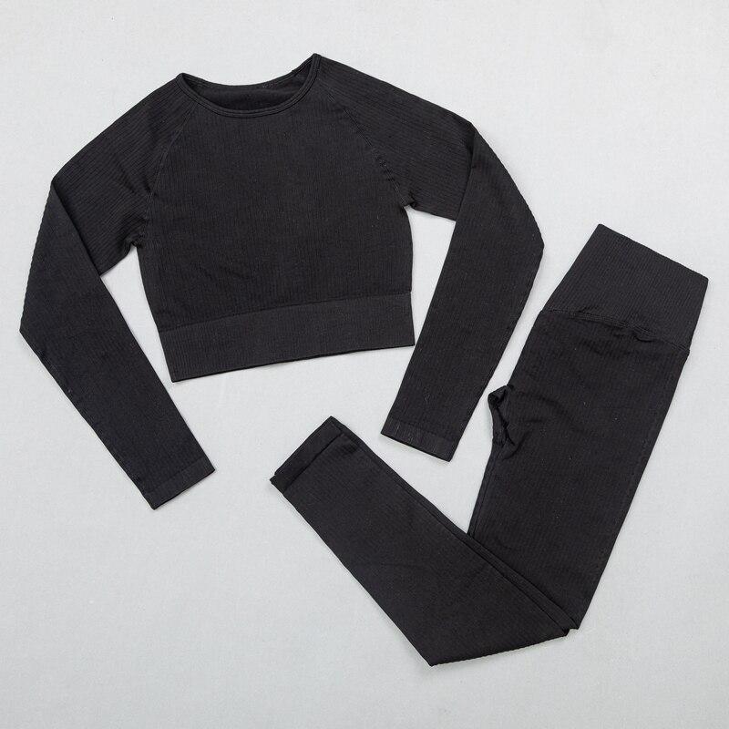 ShirtsPantsBlack - Women's sportswear Seamless Fitness Yoga Suit High Stretchy