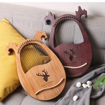 16-Tone Log Lyre Portable Musical Instrument 16-Strings Solid Wood Veneer Lyre Stringed Instrument Mahogany Musical Instruments