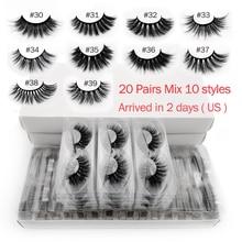 Wholesale 20 pairs 3d mink lashes bulk mix eyelash styles natural false eyelashes extension makeup soft dramatic mink eyelashes