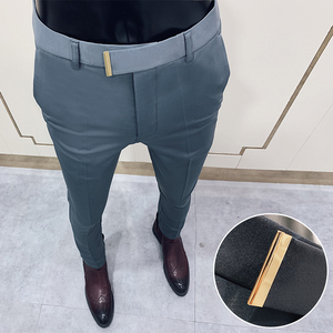 2020 Business Suit Pant Mens Dress Pants Ankle Length Casual Slim Formal Trousers Elastic Pencil Pants Office Work Men Clothes