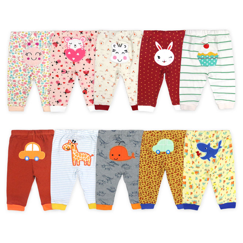 [5Pcs/lot Random Color]100% Cotton Baby Pants Cartoon Print Newborn Baby Clothes Spring Autumn Toddler Leggings 0-24 Months