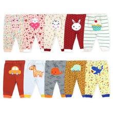 [5 sztuk/partia losowy kolor] 100% bawełna spodnie dla dzieci Cartoon drukuj noworodka ubrania wiosna jesień maluch legginsy 0-24 miesięcy