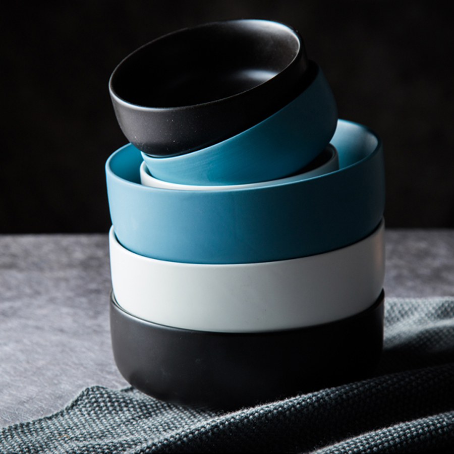 MUZITY assiettes en céramique avec bols   Service de vaisselle en porcelaine, plats ronds et bols à soupe - 6