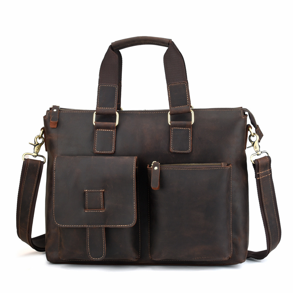 Top Leather Men's Handbags Retro Crazy Horse Leather Briefcases Casual Bags British True Leather Men's 14 Inch Laptop Bag