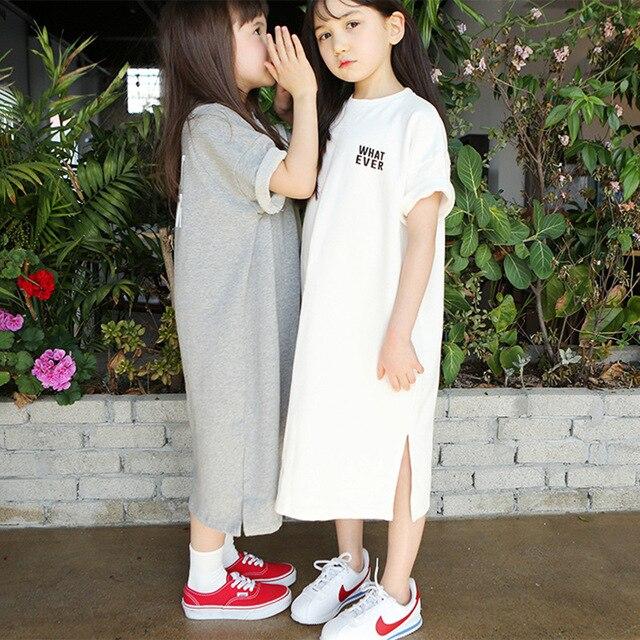 Spring Long Sleeve Letter Print Dresses for 3 16Yrs Girls T Shirt Dress Long Hoodie Dress Teens Pullover Moletom Feminina CA252