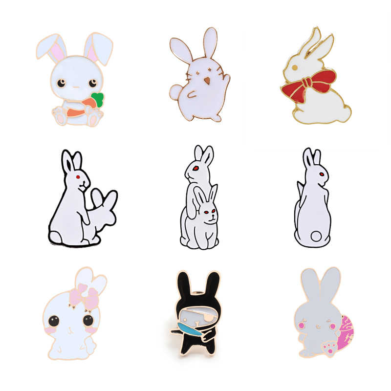 Funny Rabbit Brooches Badges for Women Kids Simple White Black Pink Cartoon Animal Enamel Pin Shirt Bag Jackets Men Jewelry Gift