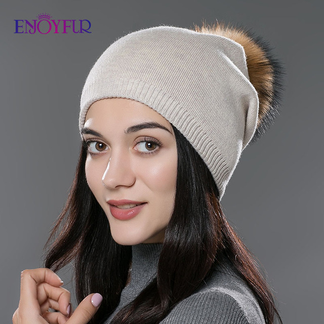 ENJOYFUR Winter women real fur pom pom hats wool knitted thick warm lined beanies hat lady fashion bobble ski caps 1