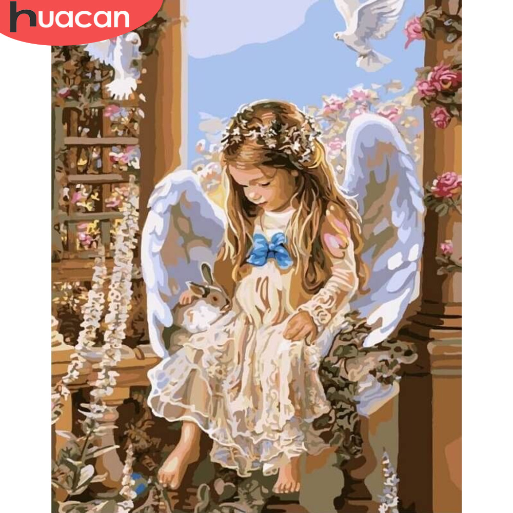 HUACAN DIY Oil Painting Angel Girl Portrait HandPainted Kits Drawing Canvas Pictures By Numbers Home Decoration Art Gift