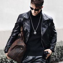 Genuine Leather Trench Coat Men Slim Fit Black Motorcycle Jacket Winter New Windbreaker Cow Leather Long Jackets Plus Size 5XL(China)