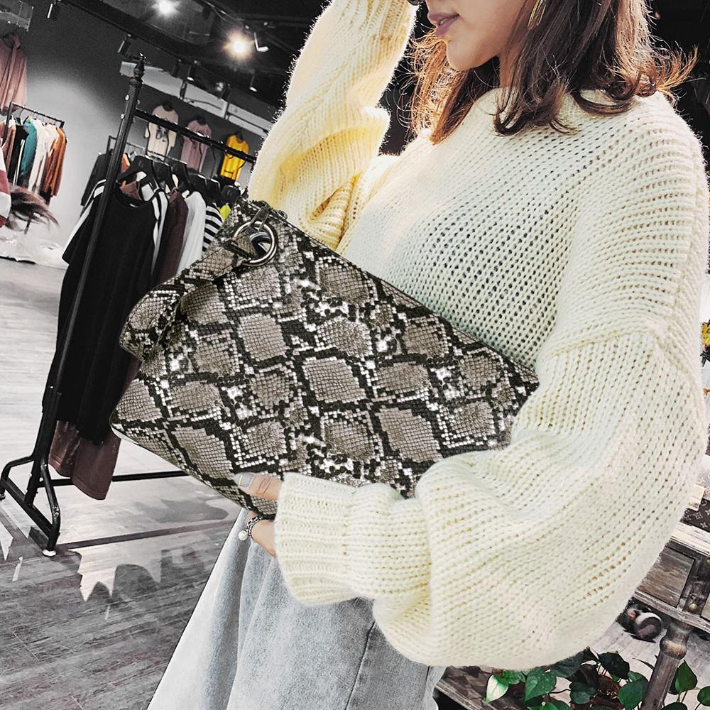 Female Fashion Square Snake Print Wristlet Clutch Women Casual Purse PU Leather Money Phone Pouch Wallet Torebki Damskie Bags