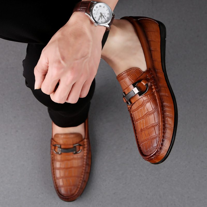 Shoes Men Outdoor Classic Genuine Leather Loafers Mens Slip-On Driving Shoes Men Crocodile Pattern Men Casual Shoes Moccasins L5