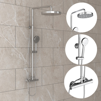 "Panana Modern Bathroom 8"" Chrome Mixer Shower Round Shower Tower Panel & Handheld Shower Twin Head Set adjustable swivel joint"