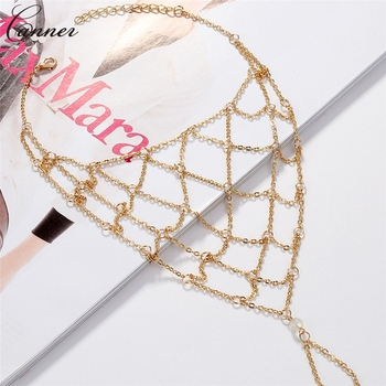 CANNER Exaggerated Hollow Mesh Chains Anklets for Women Gold Color Mesh Chains Leg Bracelet Barefoot Sandals Foot Jewelry Q40 4