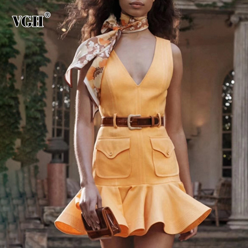 VGH Elegant A Line Dress Women Hem Ruffles V Neck Sleeveless Off Shoulder With Sashes Female Dresses Fashion 2020 Clothing Tide